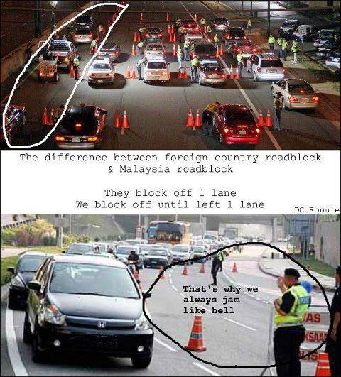 Beza road block kat Malaysia dengan luar Negara